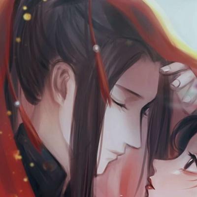古风情侣头像一男一女红色嫁衣