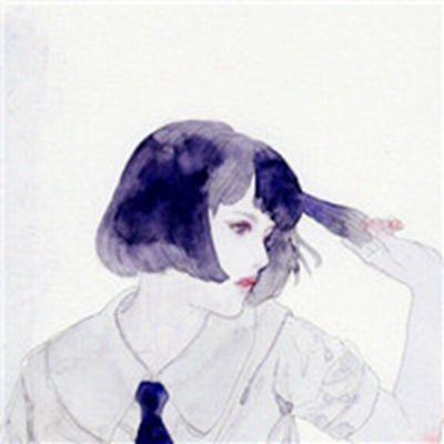 卡通手绘女生短发头像