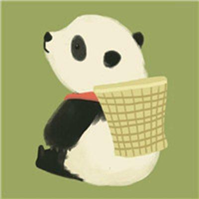 手绘小清新熊猫卡通头像